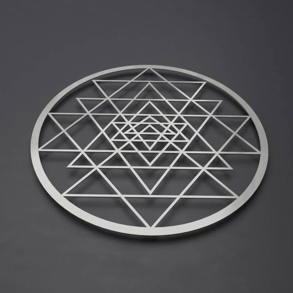 Modern Sri Yantra Metal Wall Art Sculpture Circle Wall Art | Etsy