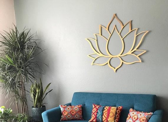 Gold Lotus Flower Metal Wall Art Lotus Metal Art Lotus Etsy