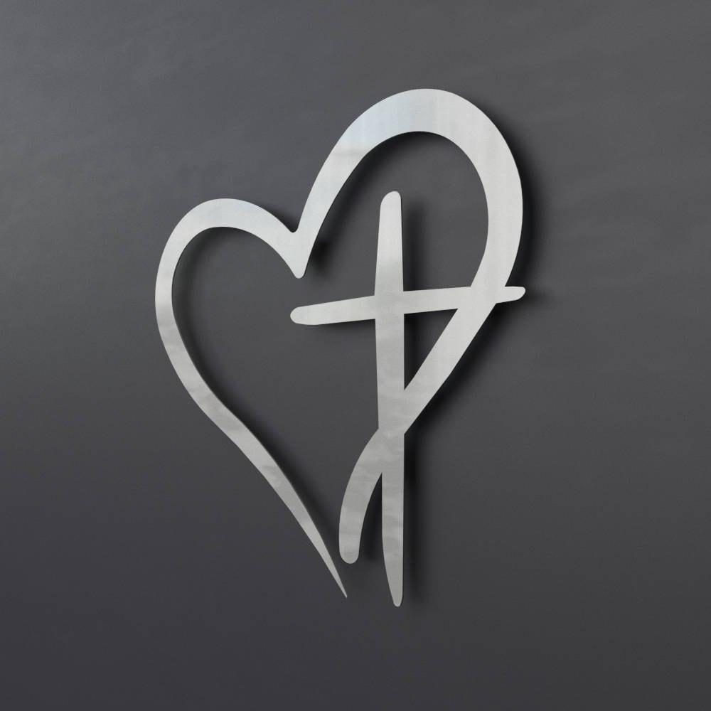 Modern Metal Wall Cross With Heart Christian Wall Art Large Metal