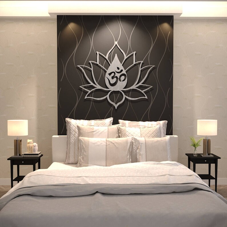 Xl Om Lotus Flower Metal Wall Art Extra Large Metal Wall Sculpture Modern Aum Or Om Symbol Silver Metal Wall Decor Yoga Wall Art
