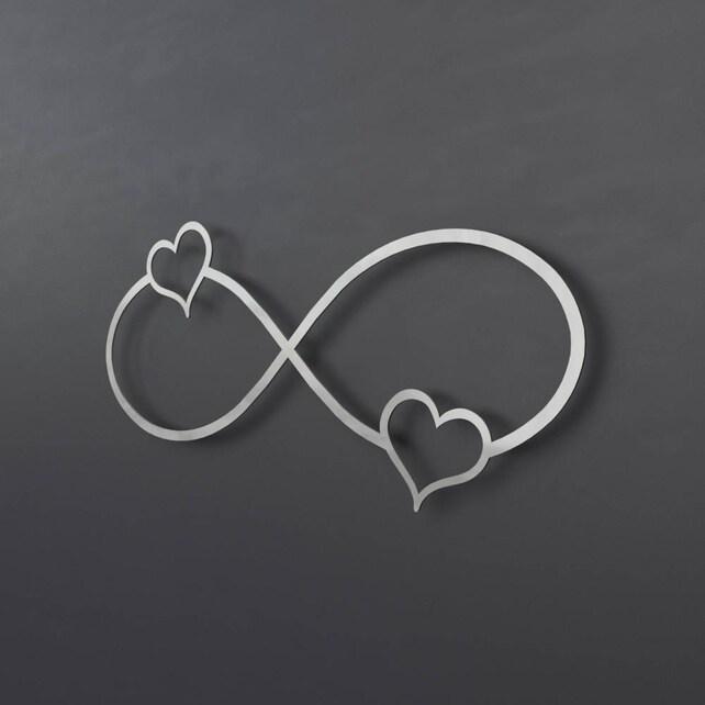 2 Hearts Infinity Symbol Metal Wall Art Infinity Wall Decor Etsy