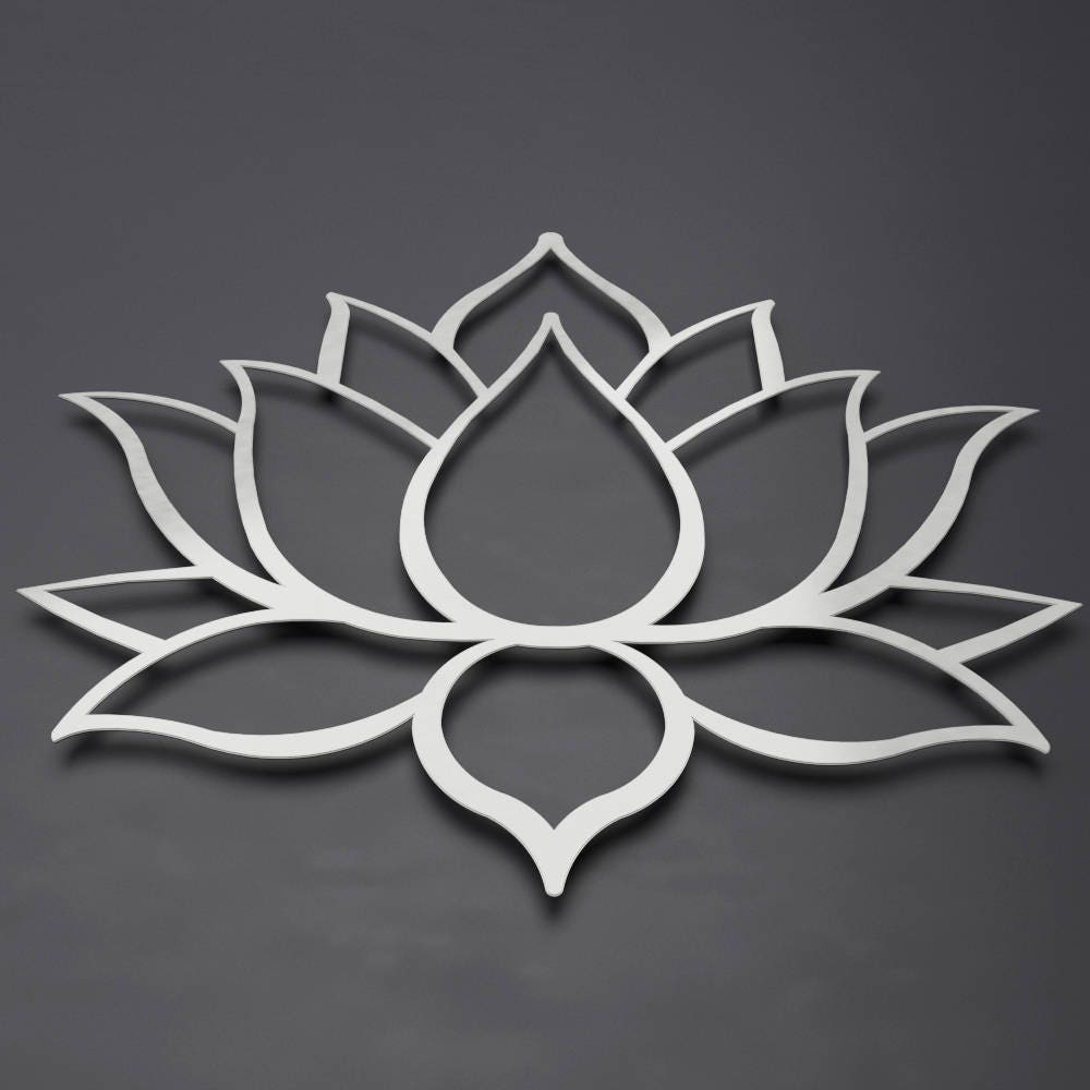 Brushed Lotus Flower Metal Wall Art Lotus Metal Art Lotus Etsy