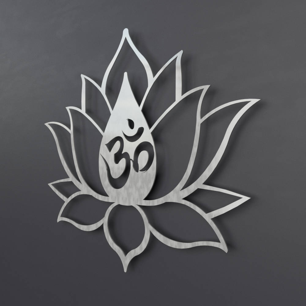 Xl Om Lotus Flower Metal Wall Art Extra Large Metal Wall Sculpture