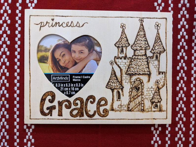 custom woodburned princess picture frame with name image 0