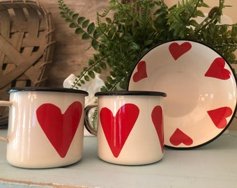 HTF Heart Enamelware Bowl & 2 Mugs