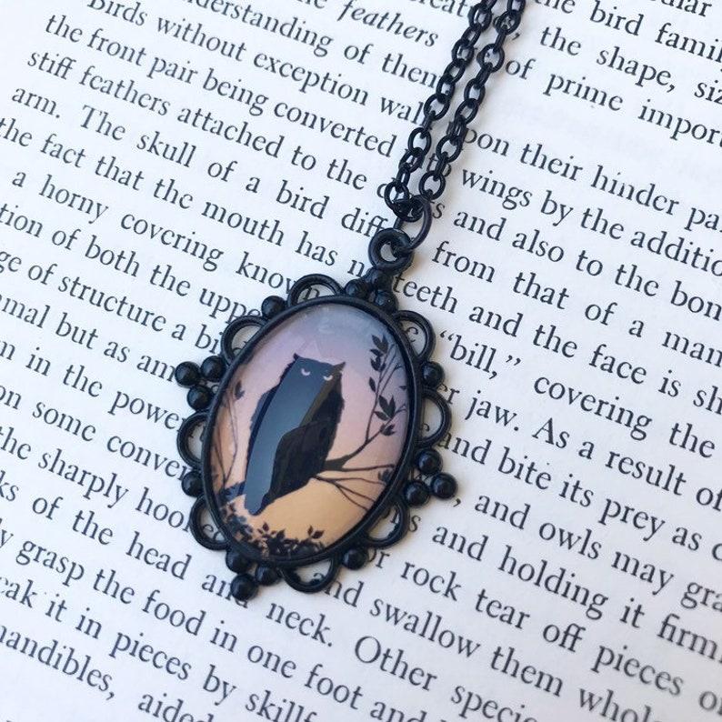 Owl Necklace Illustration Photo Pendant image 0