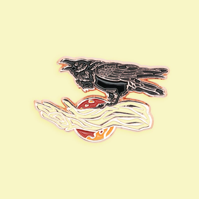 Black Raven Blood Moon Enamel Pin Polished Copper image 0