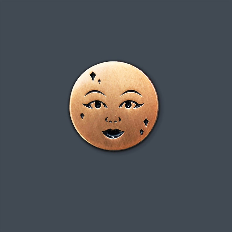 Full Moon Enamel Pin Antique Gold image 0