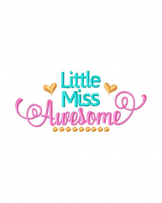 Little Miss Awesome bordado diseño diseño diseño bordado de | Etsy