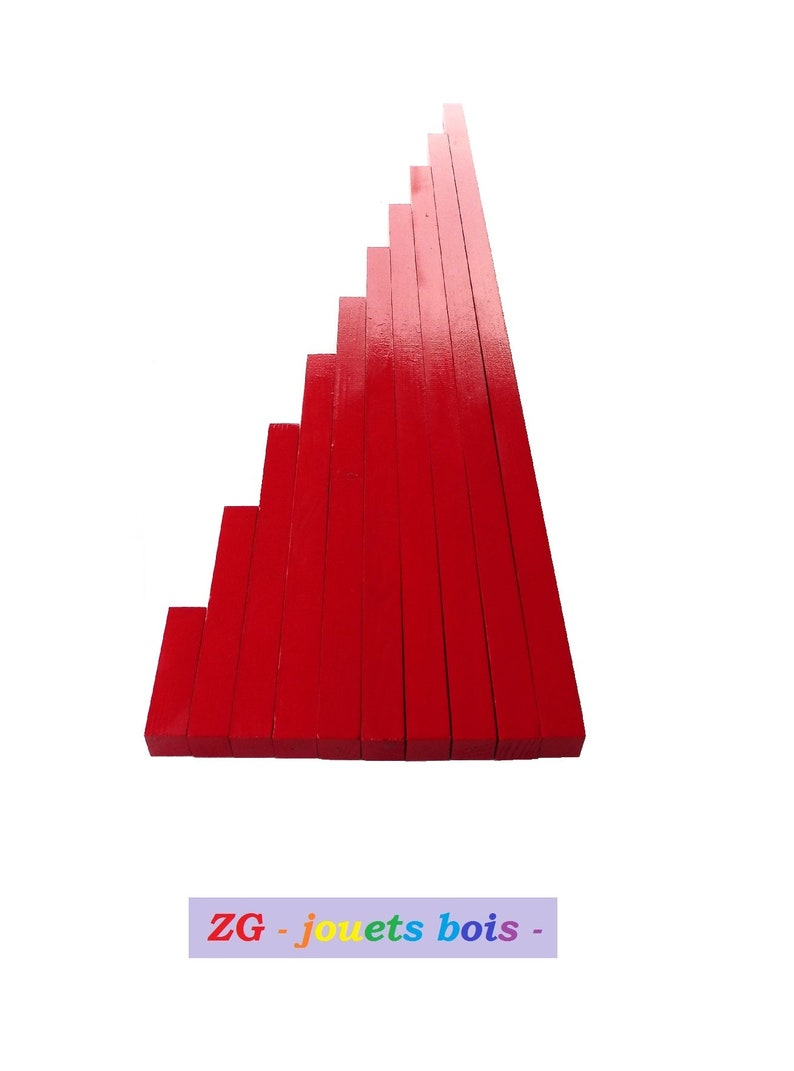 wood storage support visual and sensory discrimination of lengths Montessori red bars handmade wood and paint