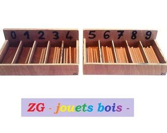 Box bobbin, math material Montessori teaching, discovery of zero, arithmetic group, Chair, handmade