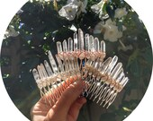 The Rachael - Clear crystal quartz hairpin for ponytail or up do with silver, gold or rose gold wire