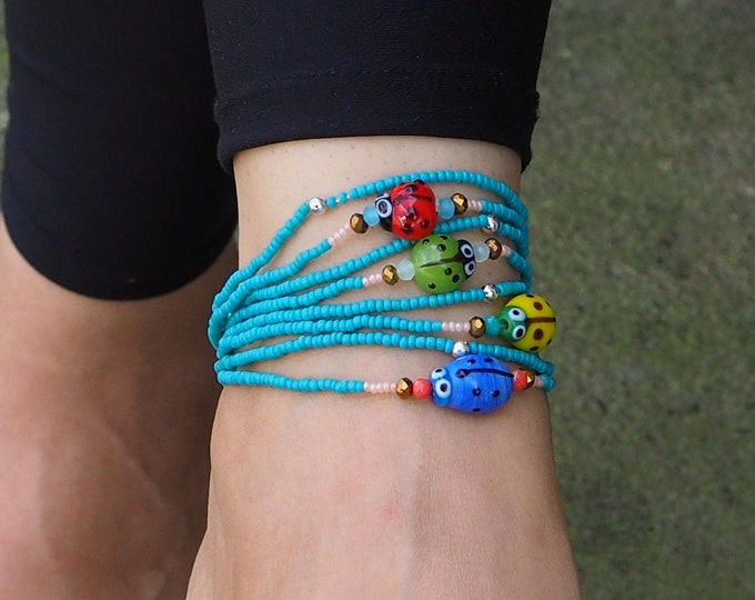 Beaded Dainty turtle Anklet BOGO. Elastic beach anklet, turquoise color glass seed beads. Includes one anklet with turtle and another plain