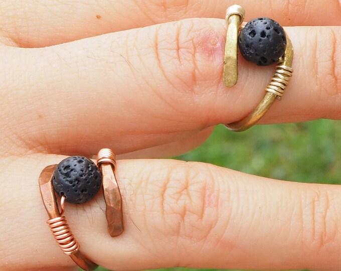 Helix Rings,  Lava rings, jewelry Lava sphere 8mm, Fingerings, Handmade Copper or Brass