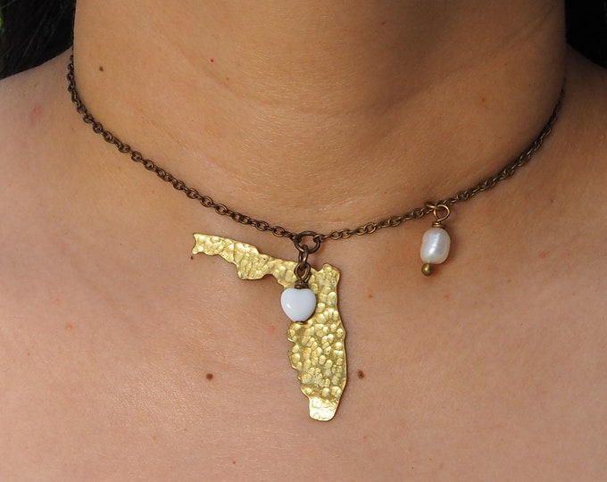Handmade adjustable Chain Neclace / Choker with hammered brass Florida state map pendant, Pearl and Czech Glass heart charm