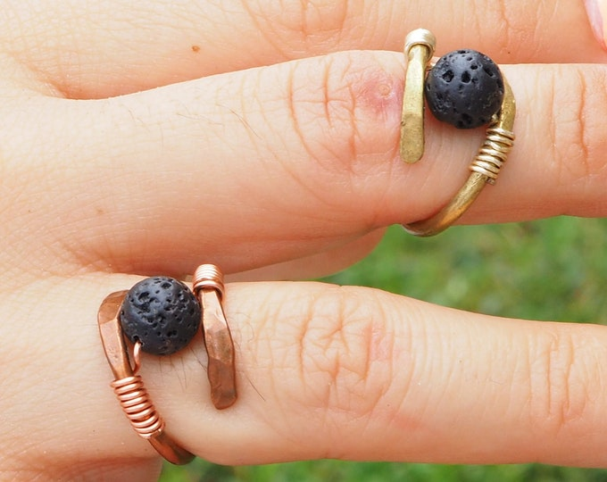 Helix lava ring with real round lava stone. Handmade with Copper or Brass wire