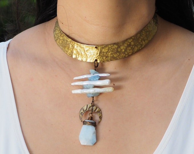 Brass Choker / necklace, central pendant chain with aquamarine stones. mother of pearl and Crescent Moon Charm