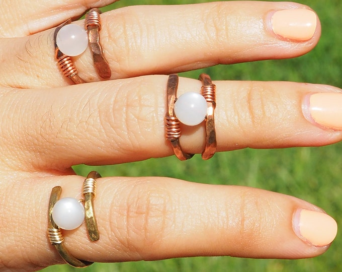 Helix Moonstone ring with natural round moonstone. Handmade Copper jewelry ring or Brass. Made with wire and gemstone.