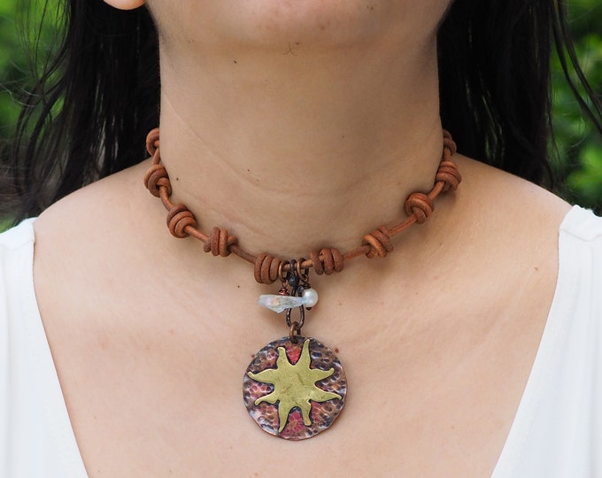 Necklace / Choker with copper and brass Sun pendant, Handmade, adjustable, Leather, quartz and Pearl charms