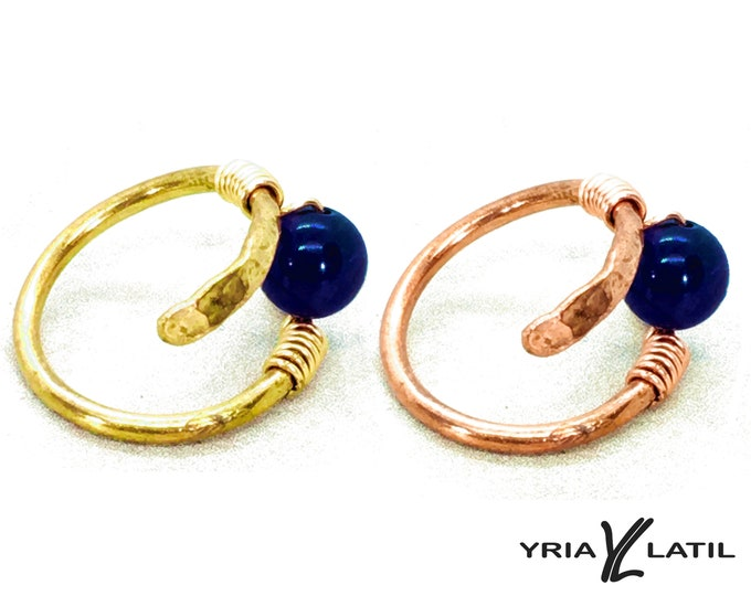lapis lazuli Handmade hammered wire Copper or Brass Rings