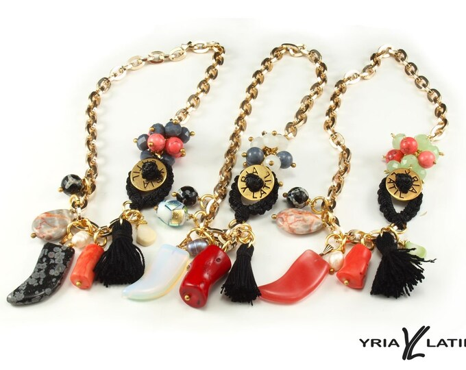Necklace aluminum chain, coral, Jasper Fang , agate, glass beads, black tassle, shell drop, freswater pearl, stone beads,