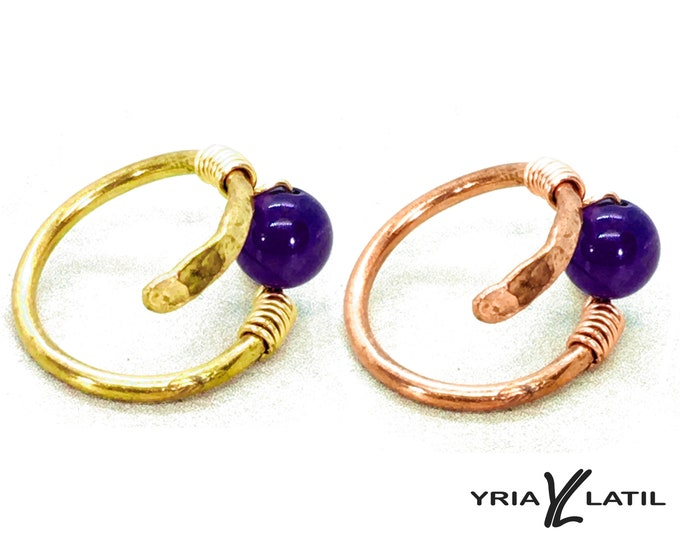 Helix Rings Amethyst jewelry, Copper Jewelry, Handmade hammered Copper wire or Brass
