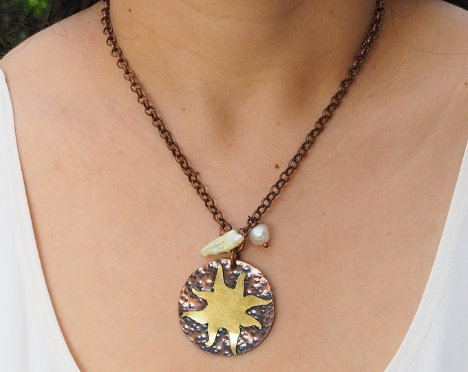 Handmade adjustable Chain Adjustable Neclace/Choker with copper and brass Sun pendant with quartz and Pearl charms