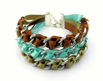Blue bracelet, boho jewelry, cuff bracelet, ribbon bracelet, summer jewelry, satin, ribbon cuff bracelet, summer bracelet, wandarrah
