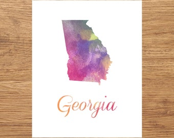 Georgia Watercolor Fine Art Print, Watercolor Art, Georgia Map Print, Watercolor Typography Art, State Wall Decor, Nursery, USA