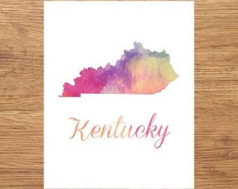 California Watercolor Fine Art Print, Watercolor Art, Kentucky Map Print, Watercolor Typography Art, State Wall Decor, Nursery, USA
