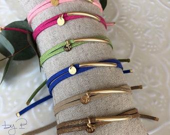 Bracelet double tour, tube en gold-filled, cordon en suédine, 6 couleurs aux choix