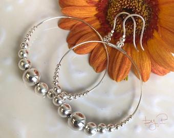 Grandes boucles d'oreilles et dégradé de perles en argent 925ème