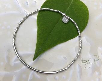 Bracelet tube fin, tubes striés et mini perles en argent 925ème