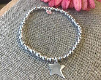 Bracelet perles et étoile asymétrique en argent 925ème