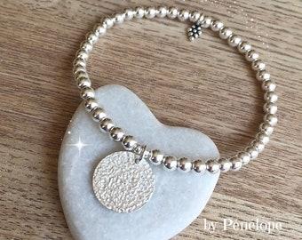 Bracelet perles et médaille martelée en argent 925ème