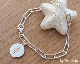 Bracelet en argent 925ème, chaine maille gourmette, médaille ronde étoile du nord