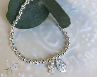 Bracelet perles et médailles pieuses en argent 925ème