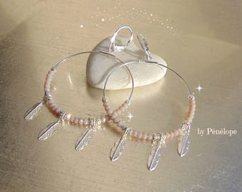 SPECIAL OFFER - 20%! Hoop, feathers and silver beads in925th and opaque pink glass beads