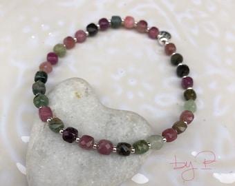Bracelet en Tourmalines carrées facettées et mini perles en argent 925