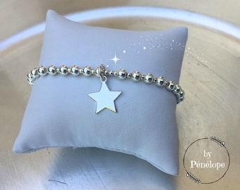 Bracelet perles et étoile en argent 925ème