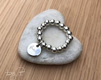 """Bagues perles 4mm, médaille ronde """"friends"""", argent 925ème"""