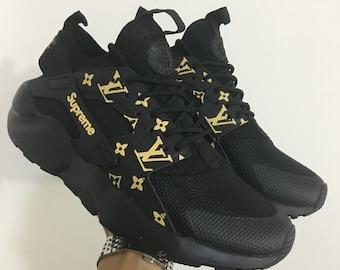 Custom Nike Air Huarache Supreme LV Black Gold Shoes