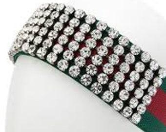 "Crystal Striped ""Gucci"" Inspired Headband"