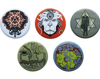 Pinback button Set of 5 Big Button badges- Art button pins-Monkey-Hanuman- Animal Pin-Sacred Geometry Pins- backpack pins- Psychedelic Pins