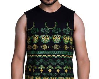 Tribal Odyssey Men's vest - Burning man clothing- African clothing - Doof Clothing - Rave Clothing - Psychedelic t-shirt - occult clothing