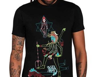 Kali T shirt-Indian Art T shirt-Occult Shirt-Indian Goddess-Visionary Art-Third Eye T shirt-Trance T shirt- Snake Shirt-Rave Clothing