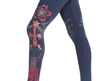 Yoga leggings, Tree of Life leggings, Woman Leggings, Sacred Geometry Clothing, Festival Leggings-Trippy Legging, Yoga pants, Boho leggings