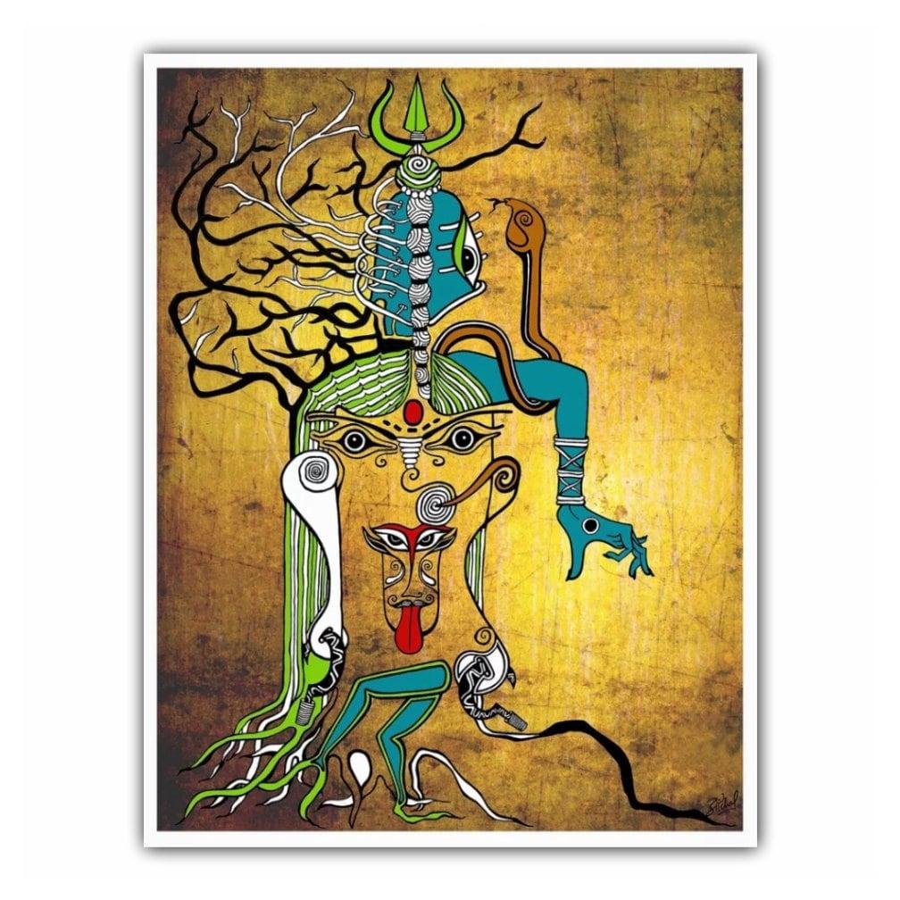 Kali Goddess Indian Art Canvas Print Shiva third eye Mahakali | Etsy