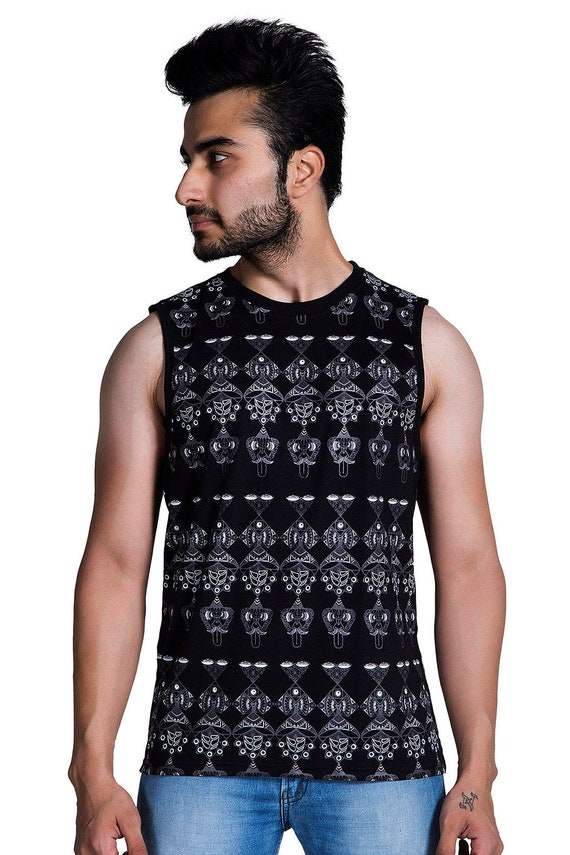 Graphic All Over Print Men's Tank Psychedelic Tee Space