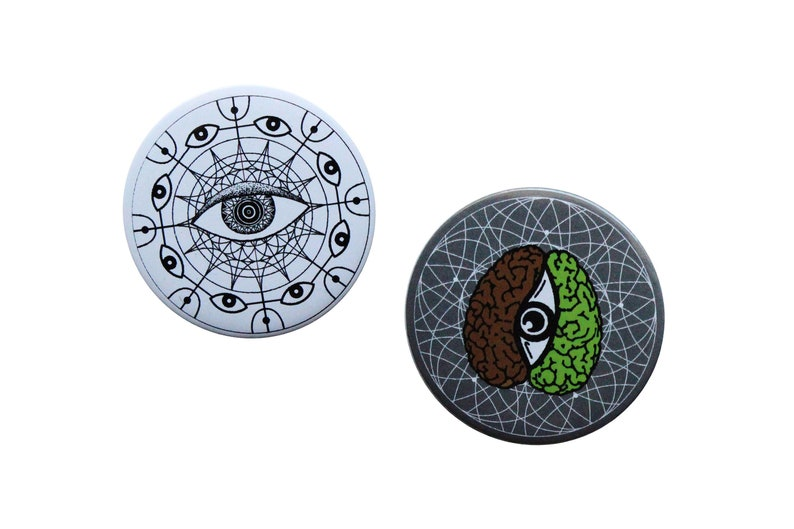 Art pinback button pins set, Trippy pins for backpacks, Jeans Jacket button  badge pins, gifts for him, All seeing eye artistic buttons
